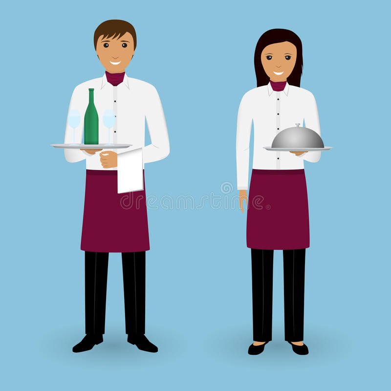 Couple of waiter and waitress with dishes and in uniform stand together. Restaurant team. Food service staff. stock illustration