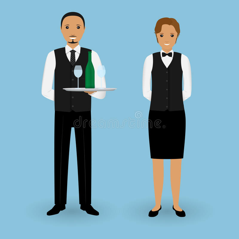 Couple of waiter and waitress with dishes and in uniform stand together. Restaurant team. Service staff. vector illustration
