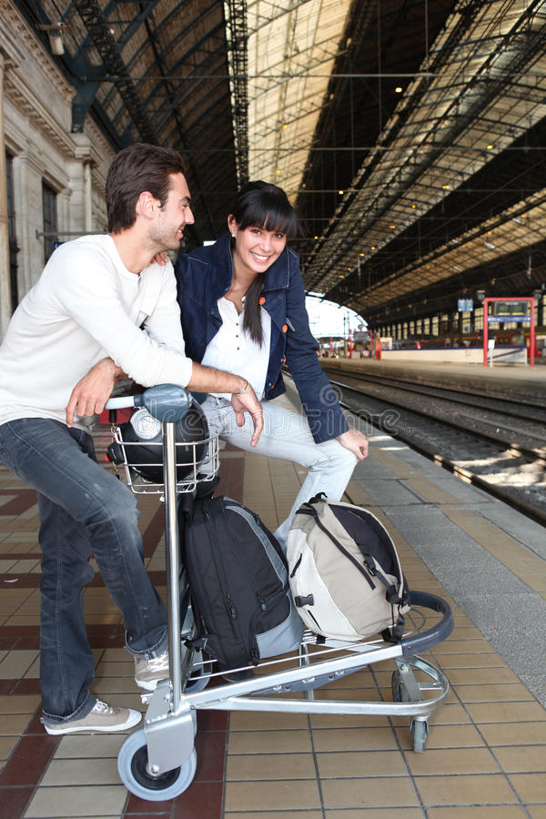 Download Couple Waiting For The Train Stock Image - Image: 23861371