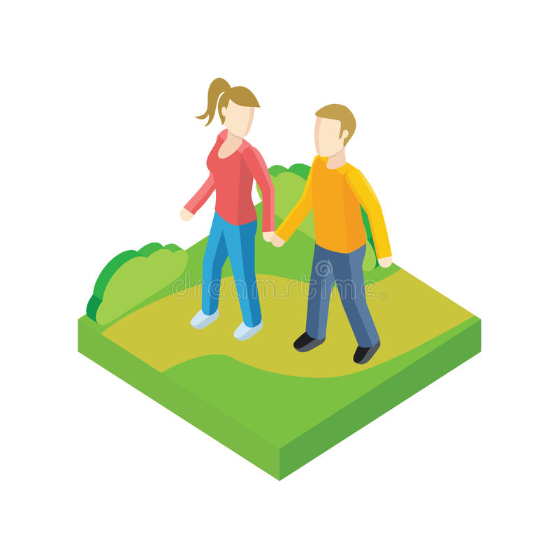 Couple Walk in Park Design Flat vector illustration
