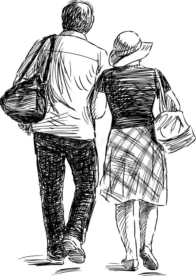 Couple at walk royalty free illustration