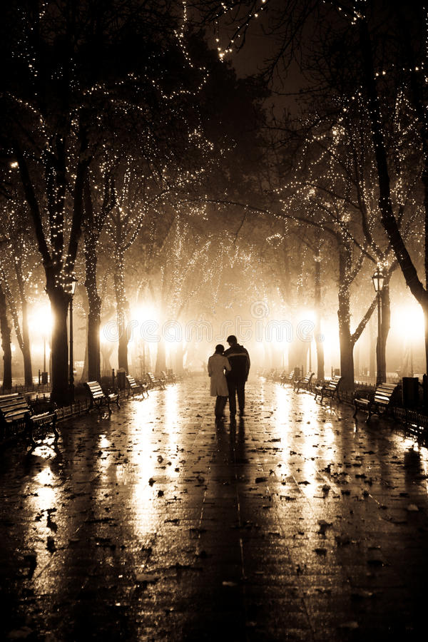 Download Couple Walking At Alley In Night Lights. Stock Image - Image: 11773417