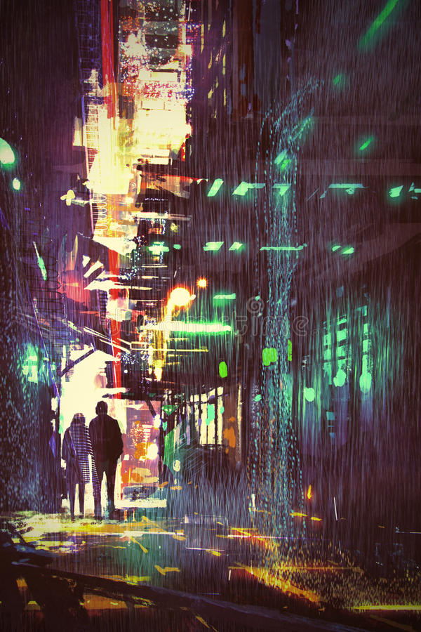 Couple walking in alley at rainy night vector illustration