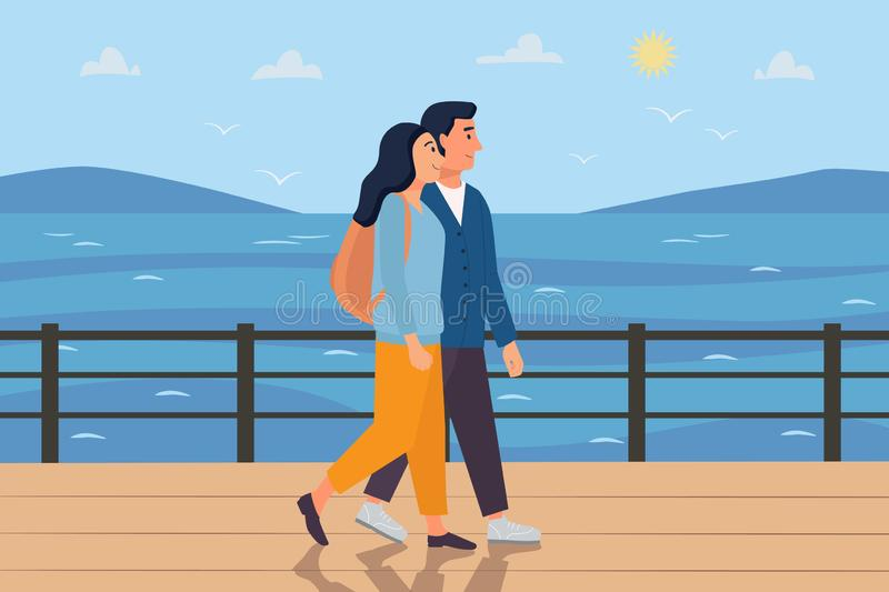 Couple walking along the sea on a trip. Woman with backpack and man going together in sunny weather. Travel concept. Flat cartoon royalty free illustration