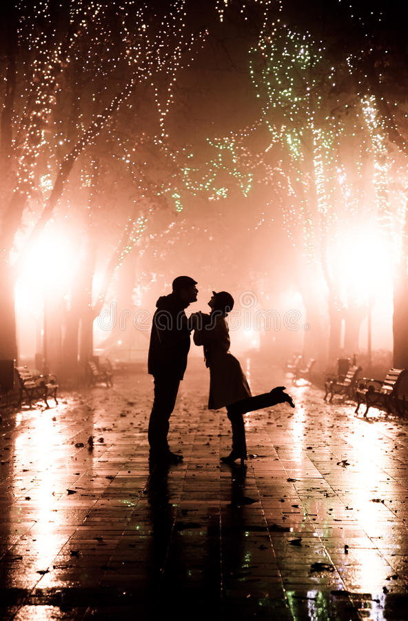Free Couple Walking At Alley In Night Lights. Stock Photography - 11773342