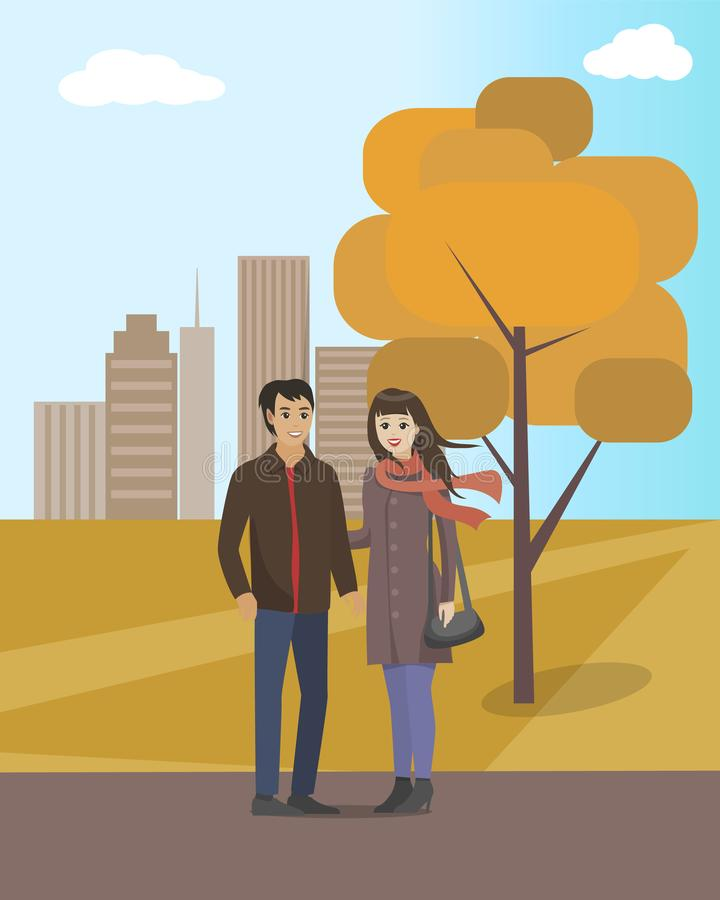 Couple Walking in Autumn City Park Together Vector. Couple man and woman wearing warm clothes, strolling calmly. Skyscraper and trees with foliage royalty free illustration