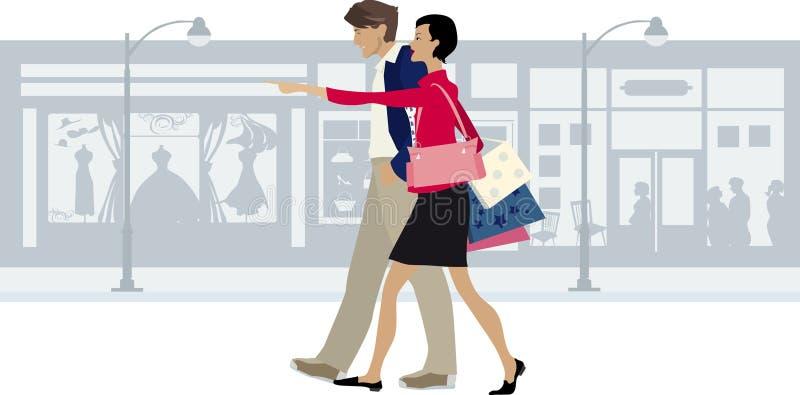 Couple walking city street vector illustration