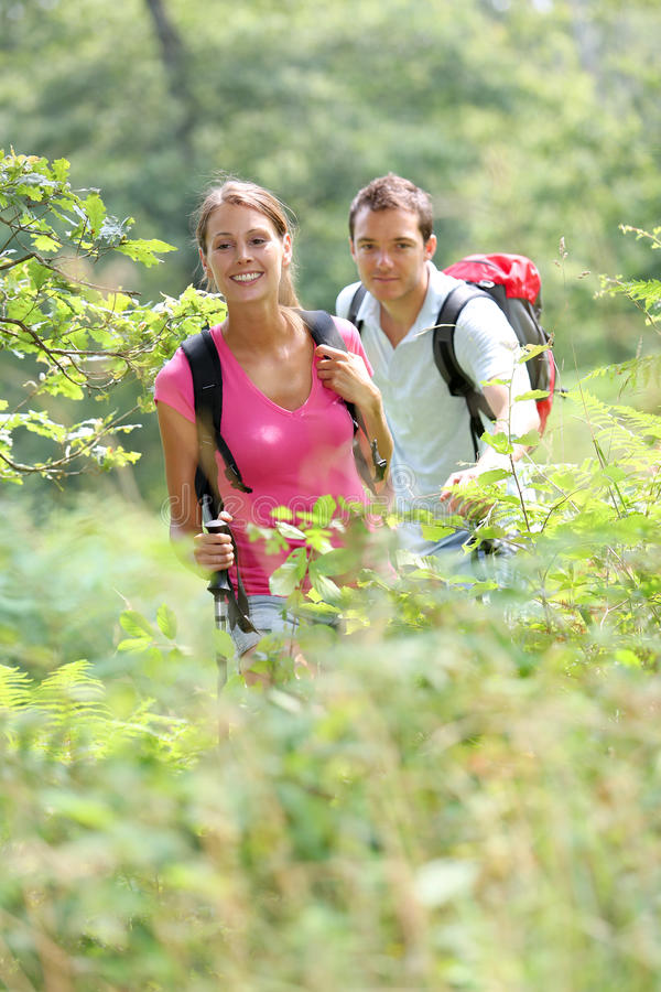 Couple walking in countryside. Couple on a trekking day in forest stock photography