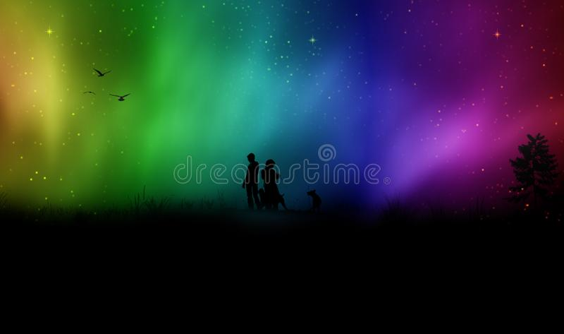 Couple walking with dogs silhouette. Silhouette of a couple and dogs with colorful sky in background. Wonderful Aurora Borealis sky, Northern lights stock photos