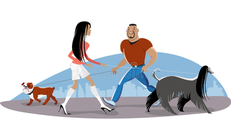 Download Couple walking dogs stock vector. Illustration of portrait - 43752094