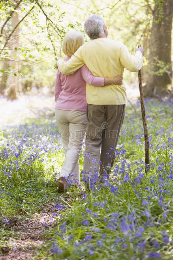 Couple walking outdoors with walking stick. From the back royalty free stock photo