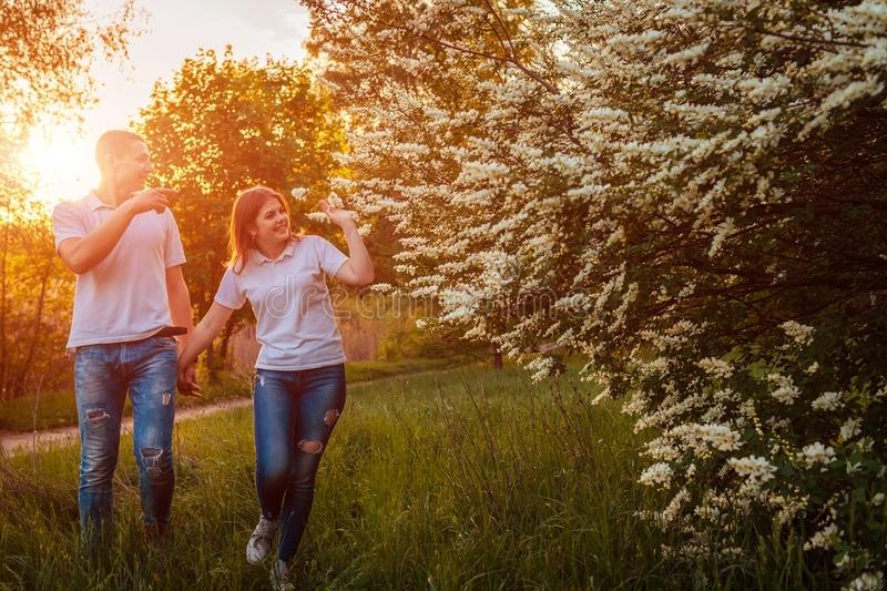 Couple walking in spring blooming park at sunset. Young man and woman having good time together stock photography