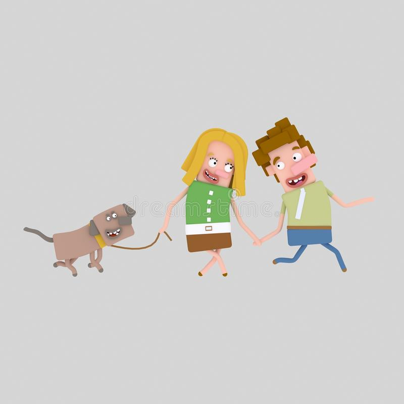 Couple walking with their dog stock illustration
