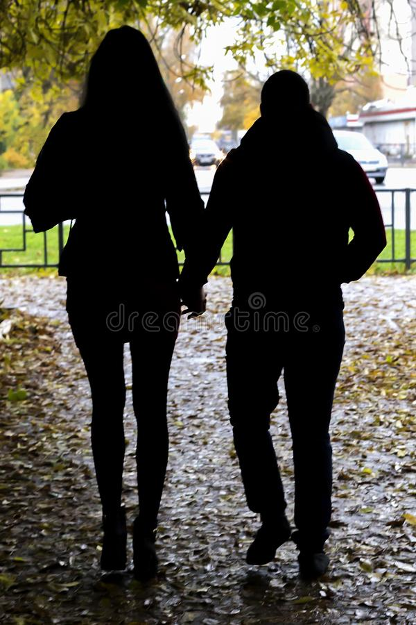 A couple walks royalty free stock photo