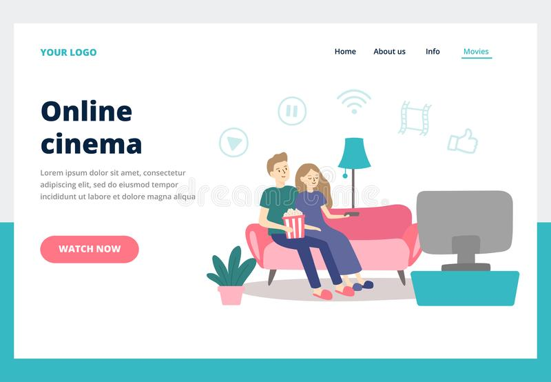 Couple watching movie. Young man and woman watch movies at home. Online cinema service business landing page vector royalty free illustration