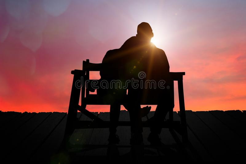 Couple watching the sunset on Valentine`s Day. stock image