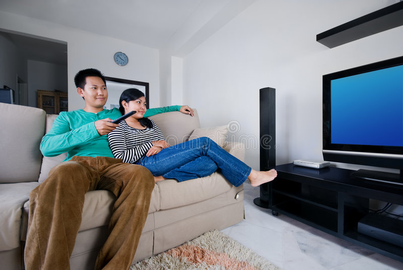 Download Couple watching television stock image. Image of couple - 3970311