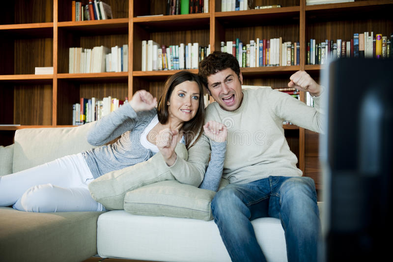 Download Couple Watching TV stock image. Image of pursuit, image - 17004119