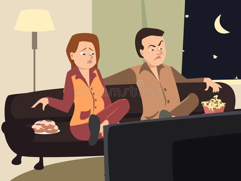 Couple watching tv with different emotions royalty free illustration