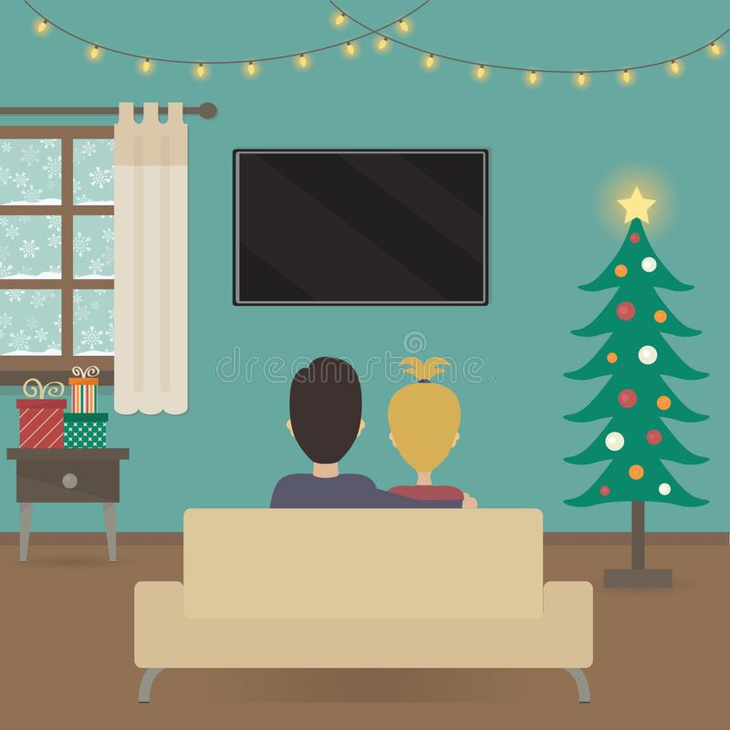 Free Couple Watching Tv In Christmas Interior Illustration Royalty Free Stock Images - 101260789