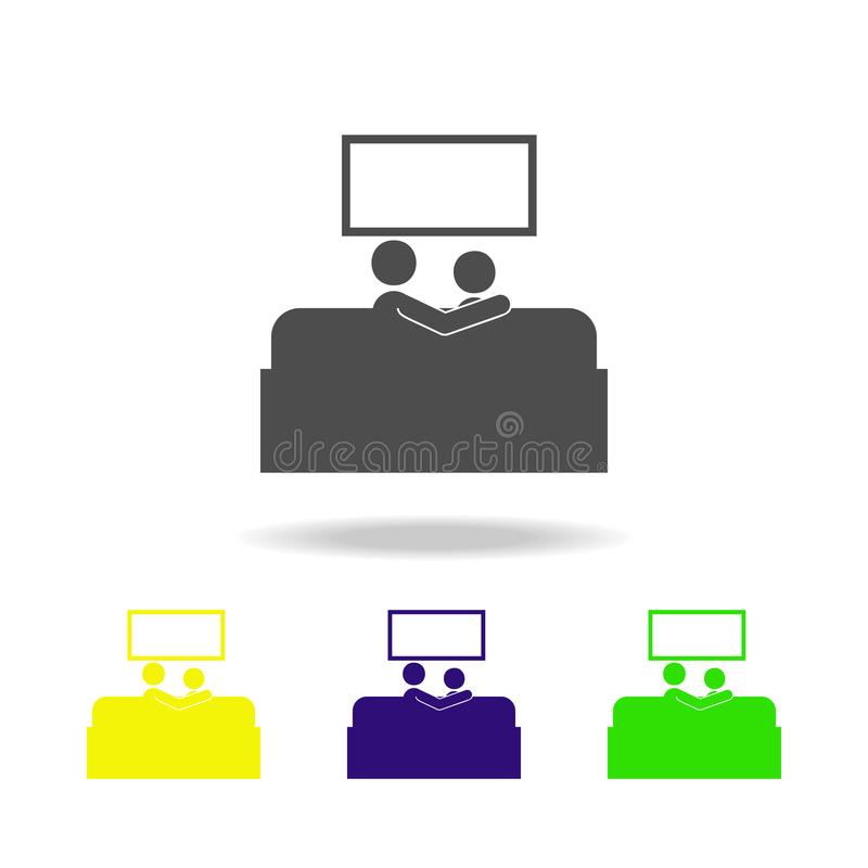 Couple watching TV multicolored icons. Element of life married people illustration. Signs and symbols collection icon for websites royalty free illustration