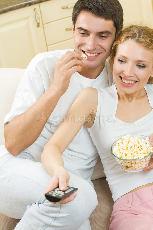 Download Couple Watching TV Together Stock Image - Image: 6933141