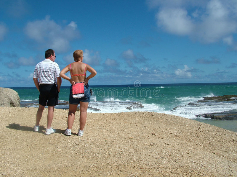 Download Couple watching waves stock photo. Image of beach, clif - 107280