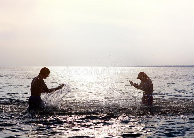 Couple in the Water stock image