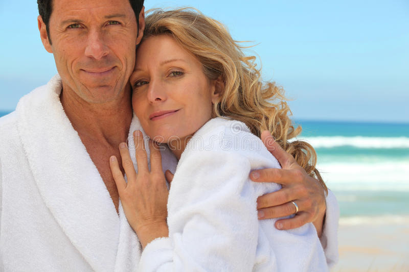 A couple wearing dressing gowns royalty free stock images