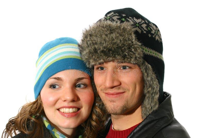 Couple wearing winter hats