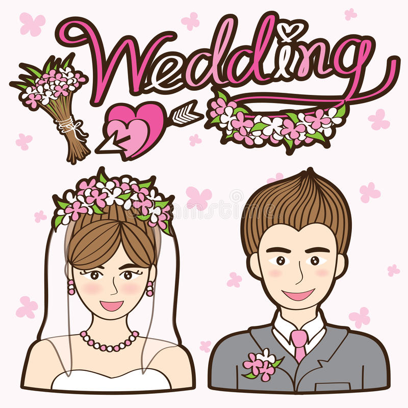 Couple Wedding Cartoon Vector royalty free stock photo