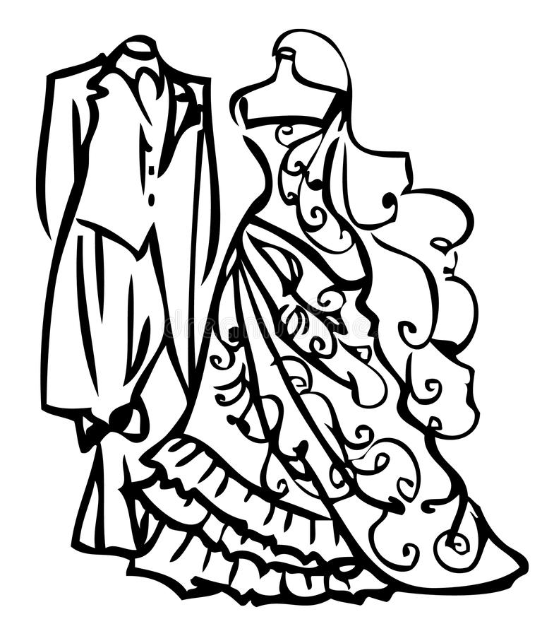 Couple Wedding Dress White And Black Stock Illustration