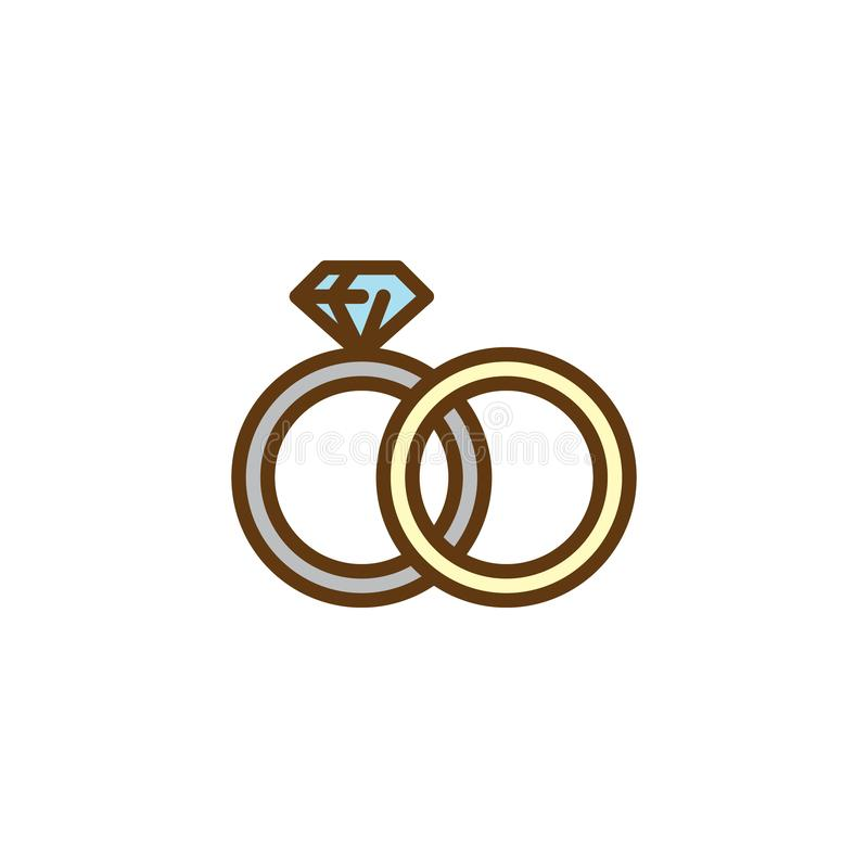 Couple wedding rings flat icon vector illustration