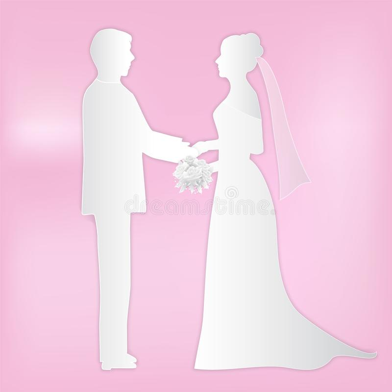 Couple wedding standing and holding bouquet in hand of bride. Couple wedding standing and holding roses bouquet in hand of bride, Paper art style, paper cut stock illustration