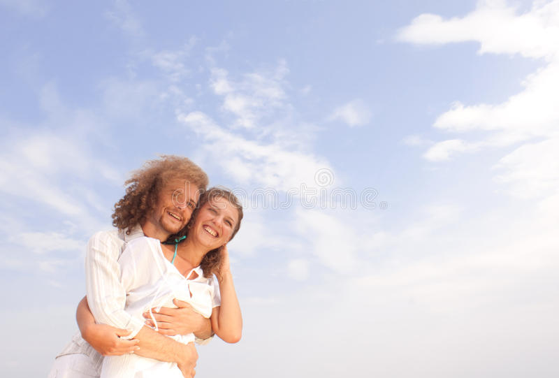 Download Couple in white stock image. Image of moving, hair, color - 12041769