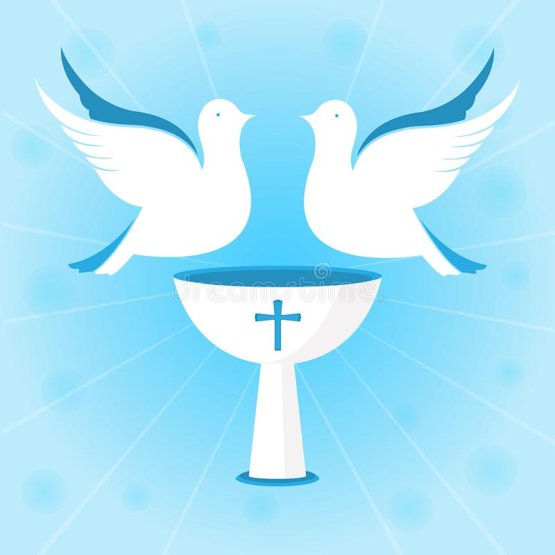 A couple of white pigeons are hovering over the chalice. Baptism of Jesus. Design for christening ceremony. A couple of white pigeons are hovering over the royalty free illustration