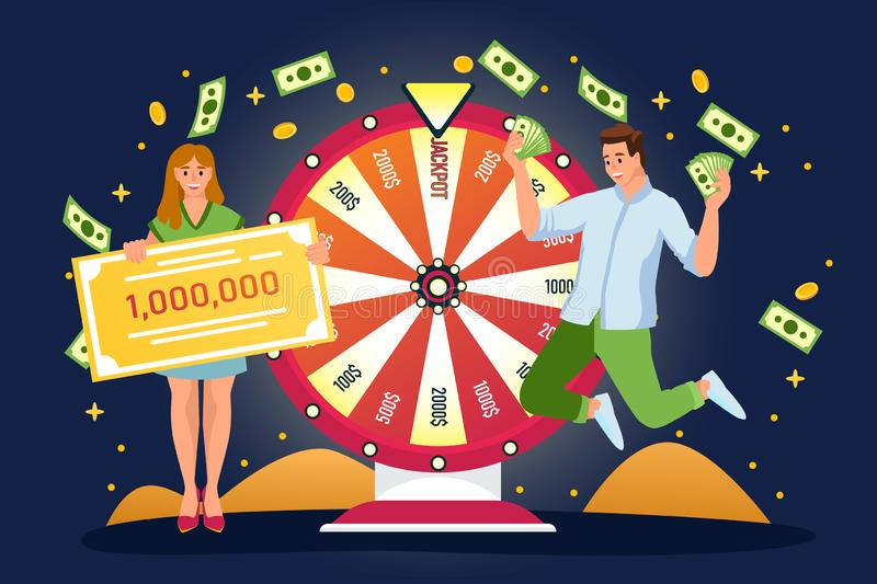 Couple win jackpot in lottery. Vector flat cartoon illustration. Lucky man, woman have won money prize in fortuna wheel vector illustration