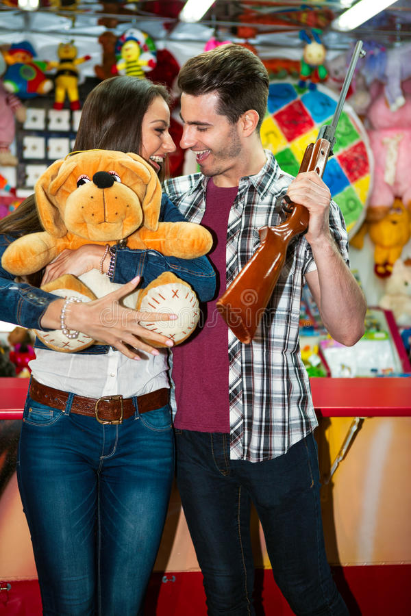 Download Couple Win In Shooting Games At Amusement Park Stock Image - Image: 41408799