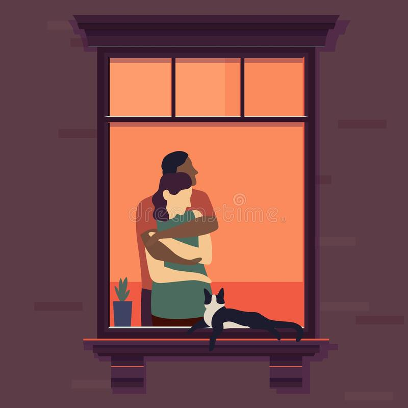 Couple in window. Romantic woman and man neck at home in the evening, joyful lovely people in love vector illustration vector illustration