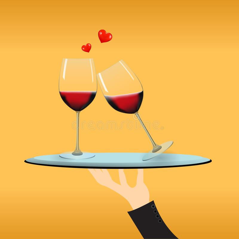 A couple wineglass with cute hearts on the silver tray stock images
