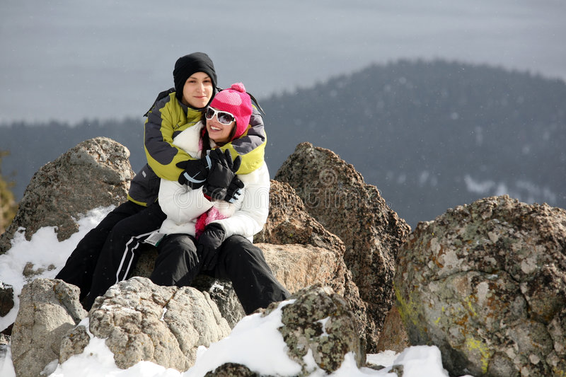 Couple in winter royalty free stock images