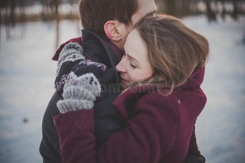 Couple In Winter Embrace Free Public Domain Cc0 Image