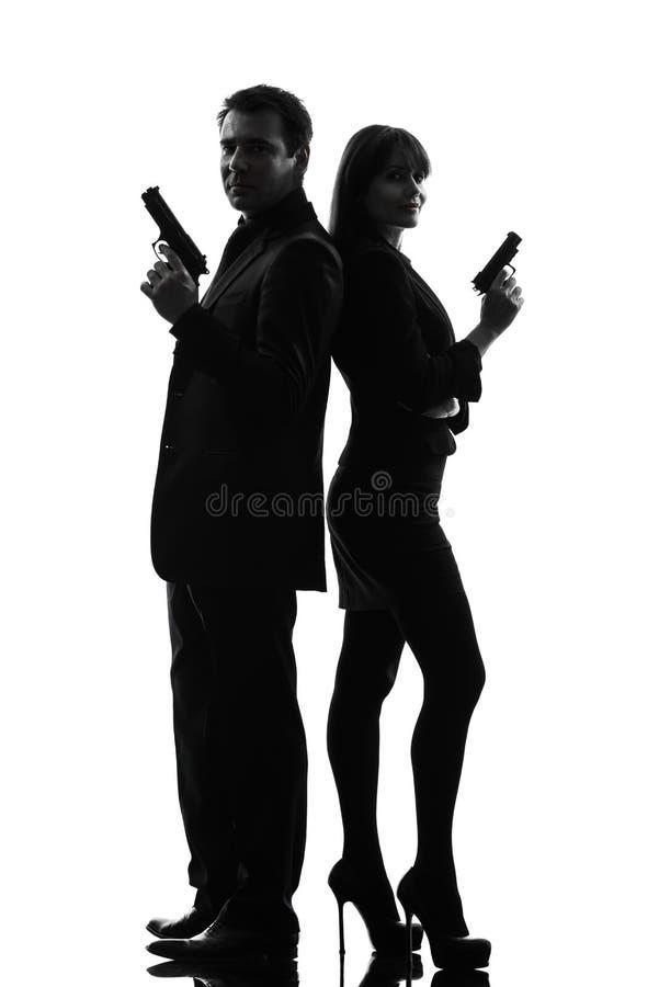 Couple woman man detective secret agent criminal stock image