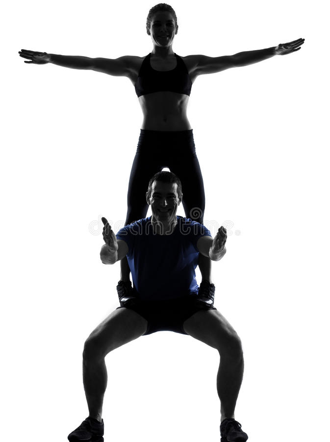 Couple Woman Man Exercising Workout Royalty Free Stock Photography