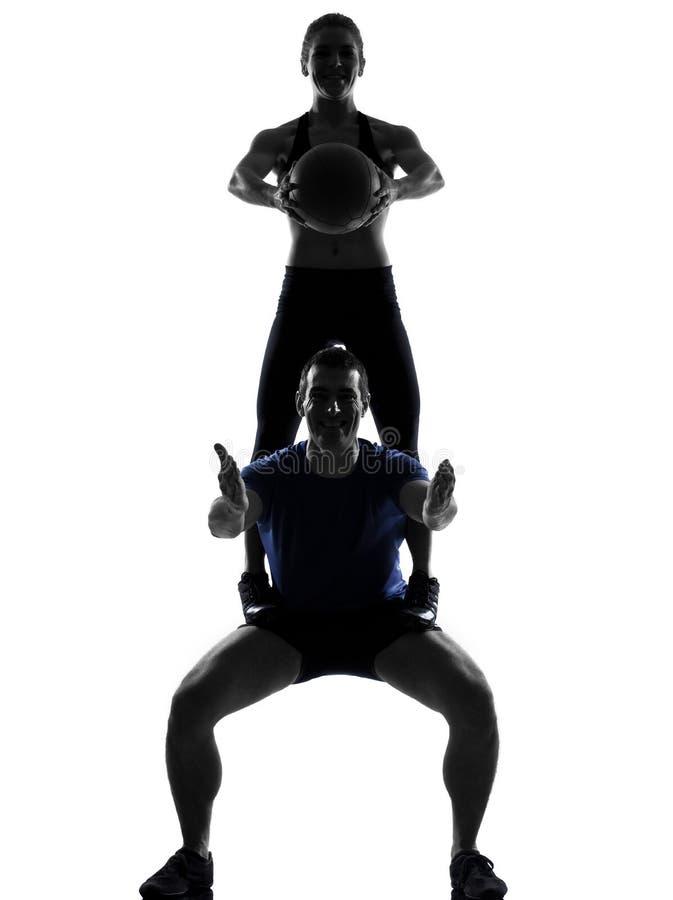 Couple woman man exercising workout