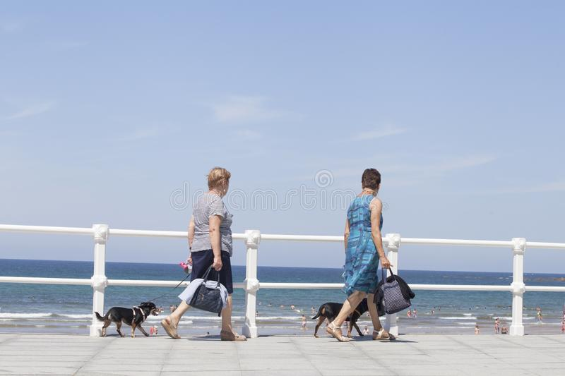 Couple women and couple dogs walk on seafront of Gijón royalty free stock images