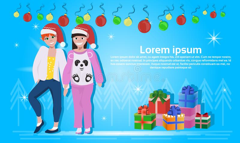 Couple women wearing red hat happy new year merry christmas concept flat gift box decoration blue background full length stock illustration