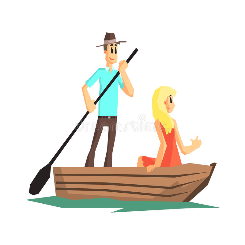 Couple In Wooden Boat stock vector. Illustration of simplified - 70072185