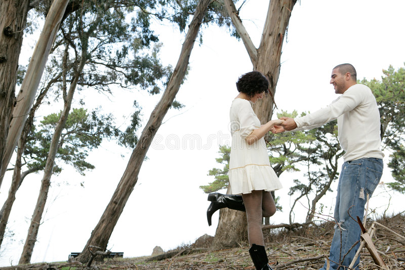 Couple in woods stock images