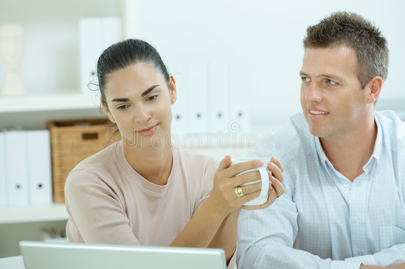 Download Couple working at home stock photo. Image of attractive - 9344996
